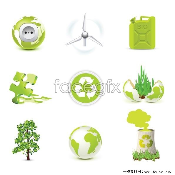 Five Green eco icon vector