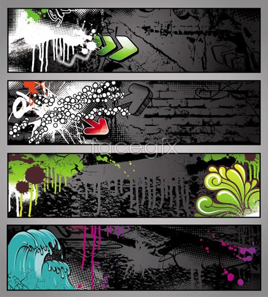 Graffiti style banners Vector