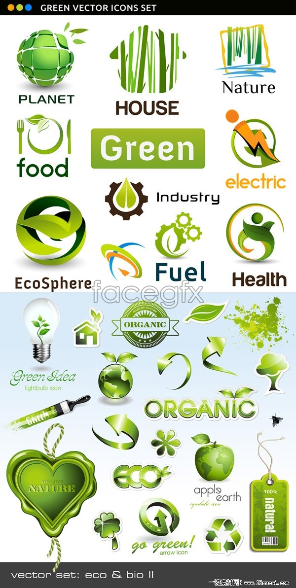 Green natural icons vector Pack