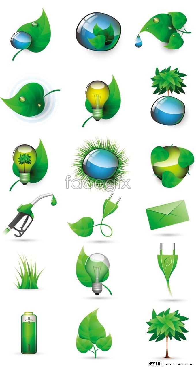 Green tech green vector icons