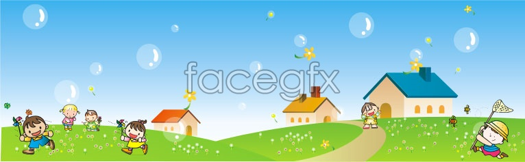 Happy children's day outing vector graphics