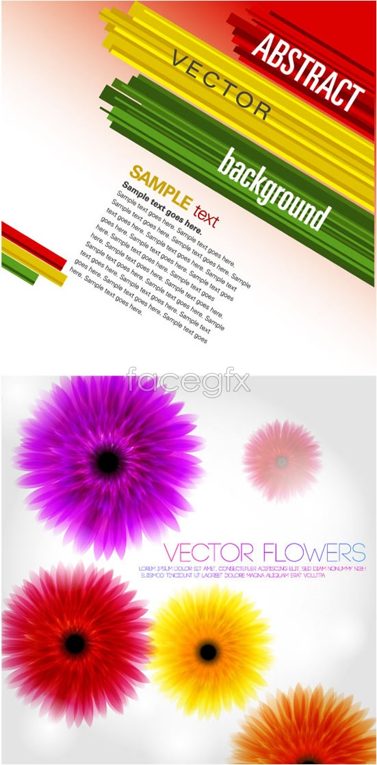 Linear color-striped ghost flower Vector