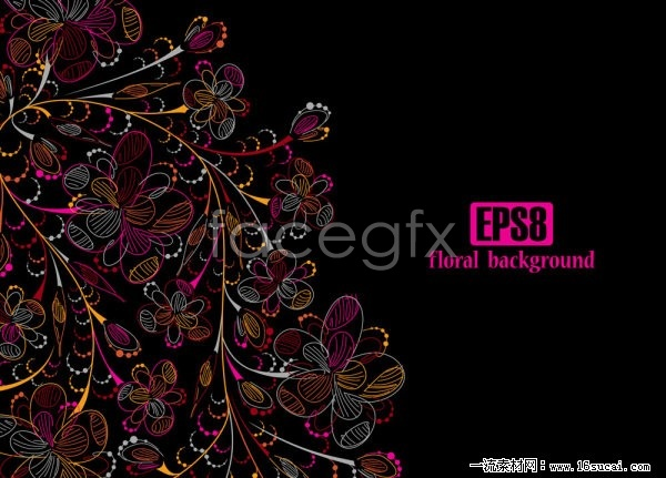 Multicolored flowers vector line release footage of four