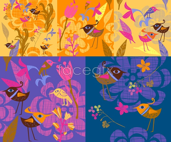 Painted birds and flowers background Vector