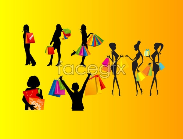 Shopping women silhouettes Vector