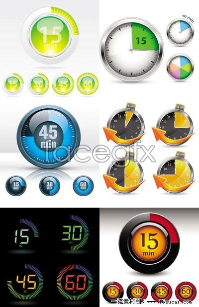 Six clocks and instruments vector