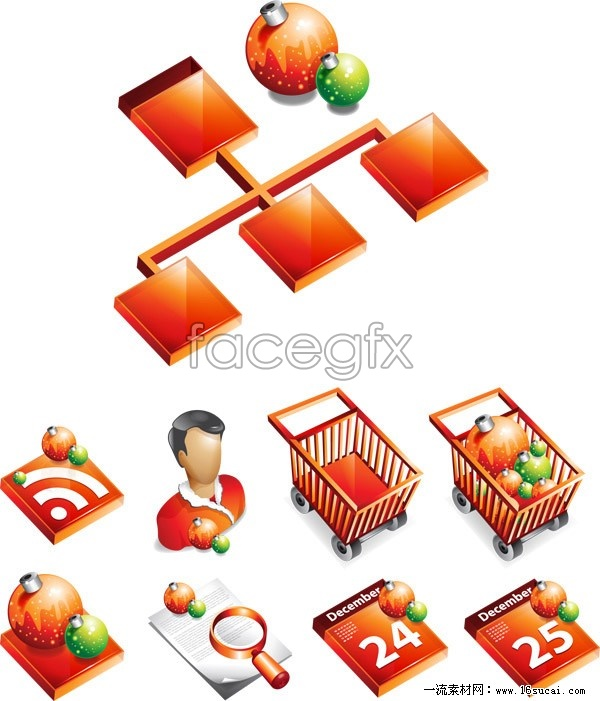 Supermarket Christmas theme icon vector
