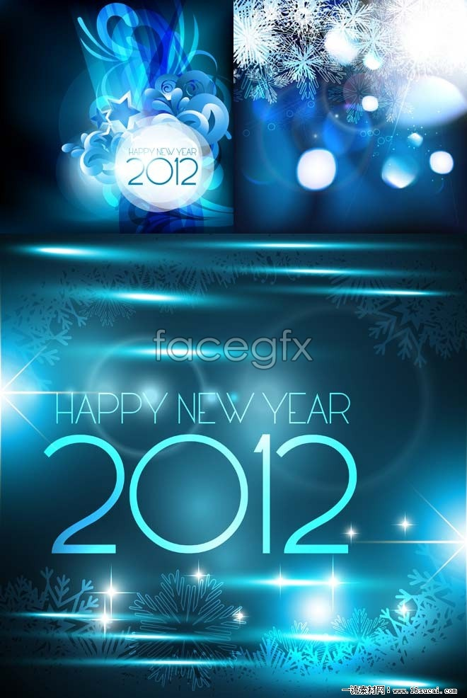 Three for three new year's day background vector