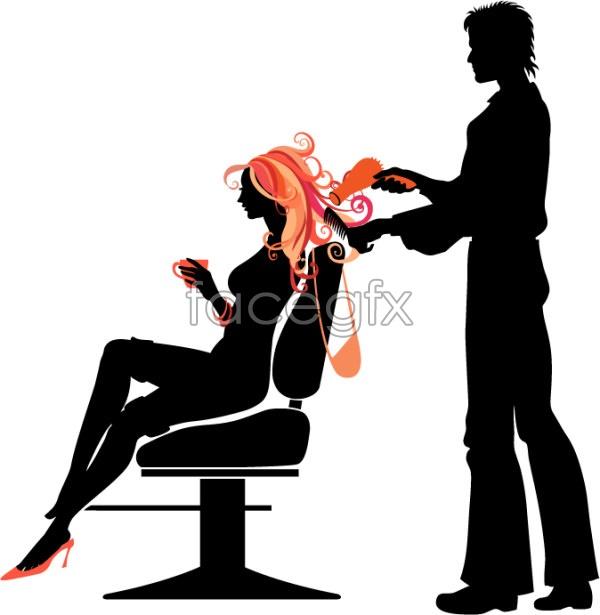 Trends hair people silhouette Vector