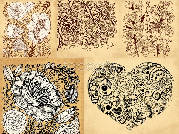 Vintage hand-painted flowers Vector