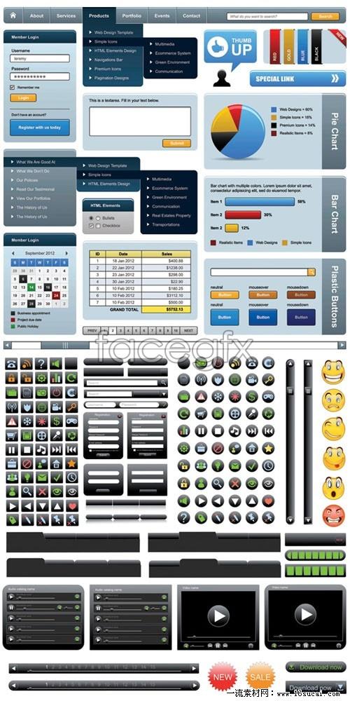 Web design elements vector II
