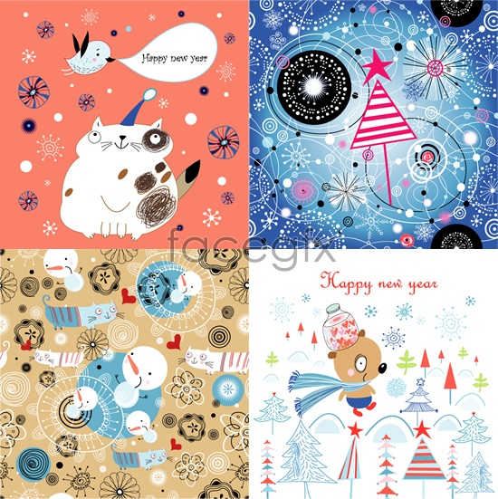 Line version of new year's cards Vector