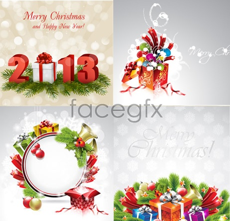 New year snowflake Christmas cards Vector