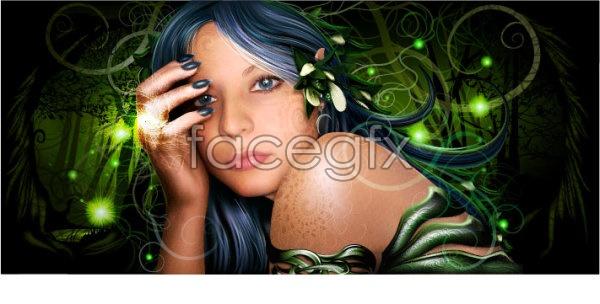 Lifelike drawing Elves beauty Vector