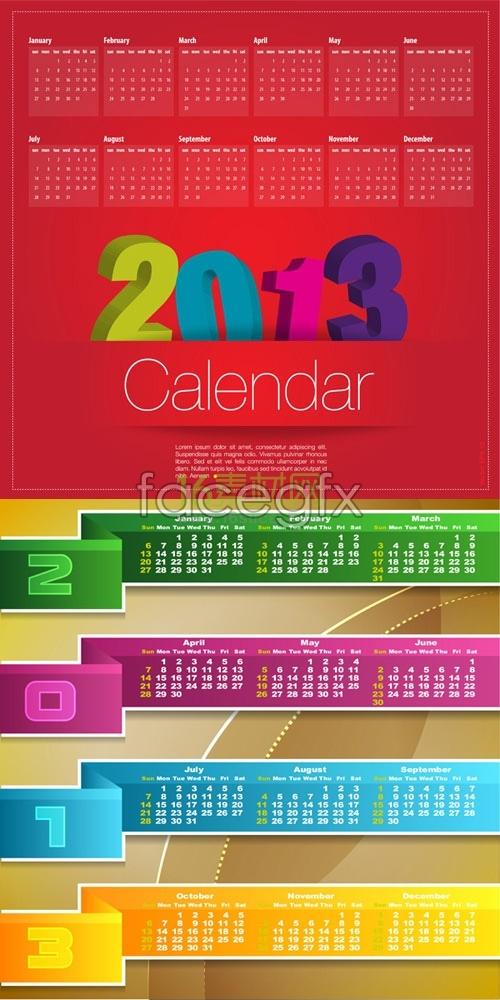 Festive red 2013 calendar template