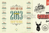 Retro Christmas theme vector element calendar