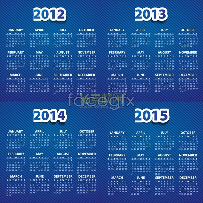 2012-2015 calendar template vector