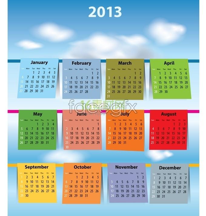 2013 calendar calendar part of vector graphics