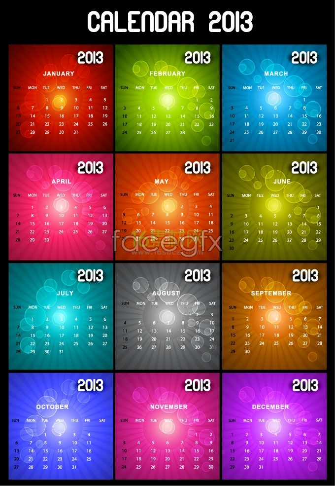 2013 calendar template