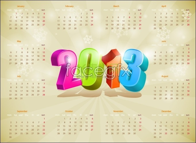 Beautiful 2013 calendar calendar
