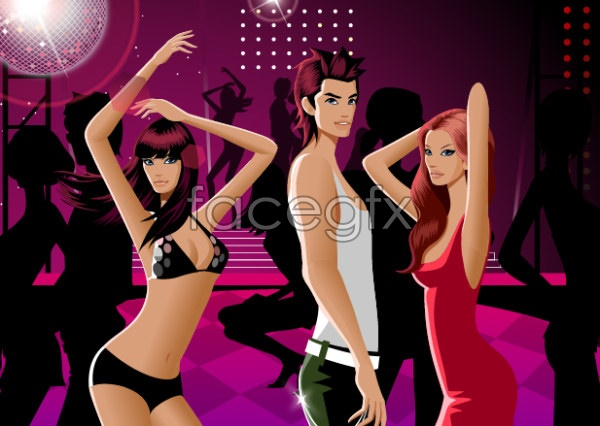 Dance fashion for men and women Vector