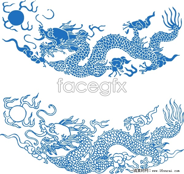 Chinese traditional dragon patterns vector
