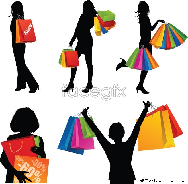 Shopping girl people silhouettes vector