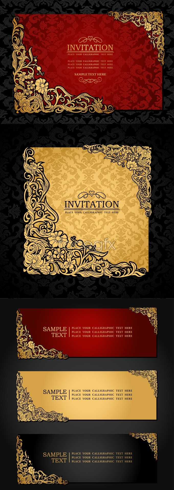 Exquisite invitation card template vector graphic