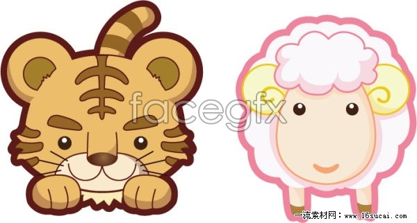 Lovely Cartoon Tigers And Lambs Adequate Vector For Free ...