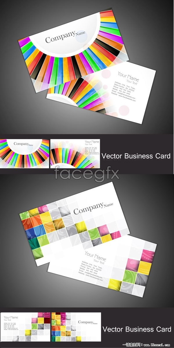 2 bright business card template vector graphic