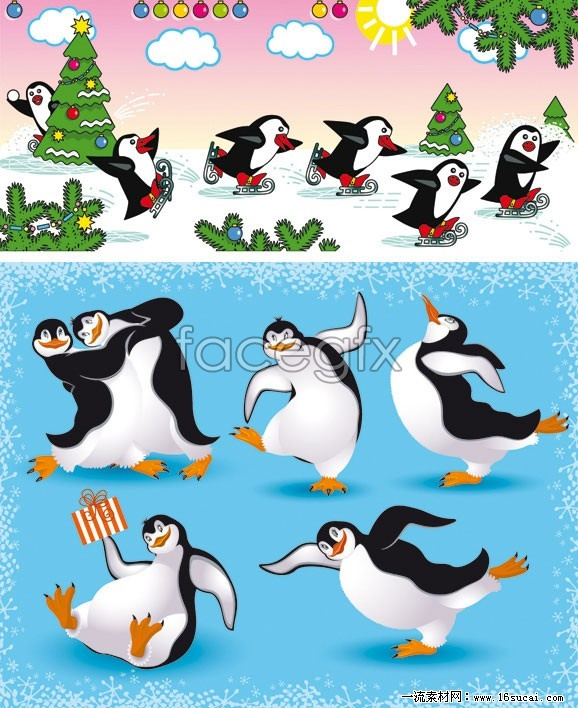 2 cartoon Penguin vector map