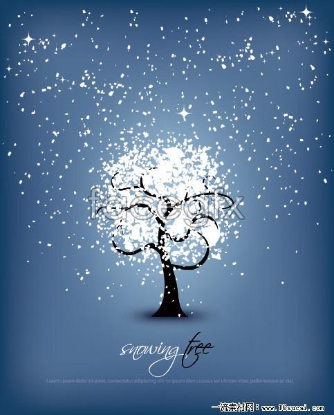 Abstract snowflake tree vector illustration