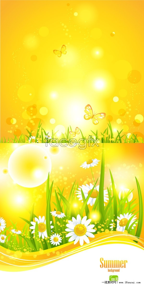 Bright flare plant background vector graphics