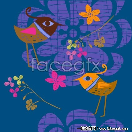 Cute bird hand-painted flowers vector  c