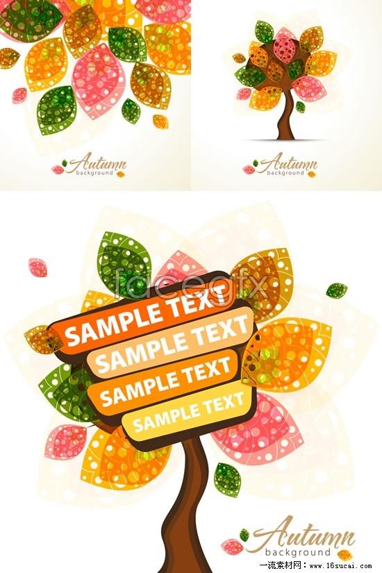 3 nursery tree cartoon billboards vector map