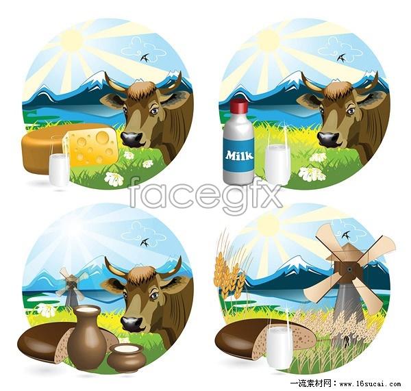4 milk theme design vector