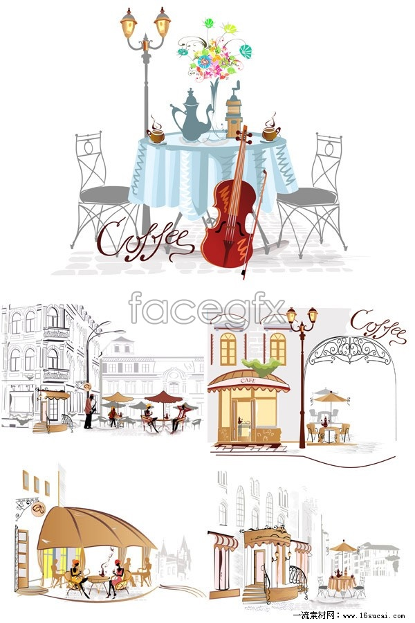5 street-side café vector map