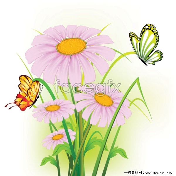 Beautiful Butterfly flowers vector