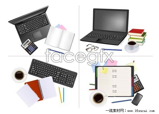 Beautiful office supplies vector