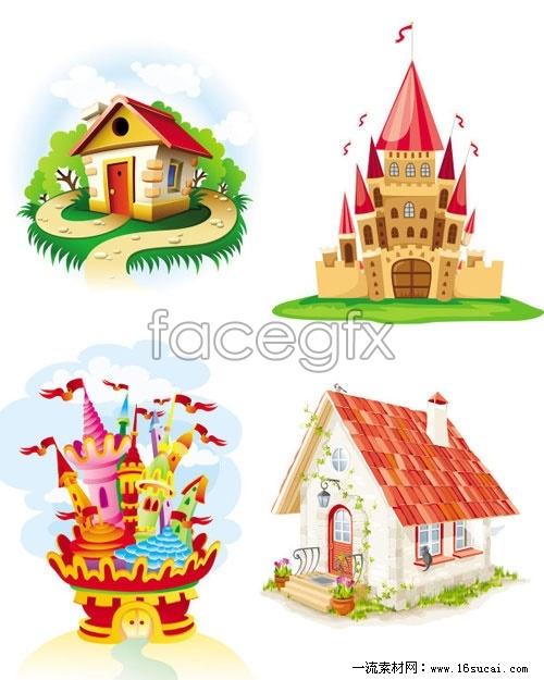 Cartoon Castle House vector