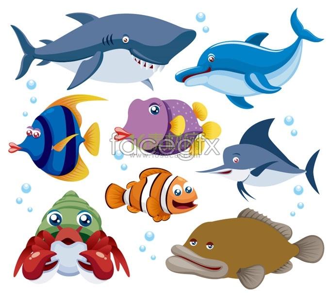 Cartoon marine fishes vector