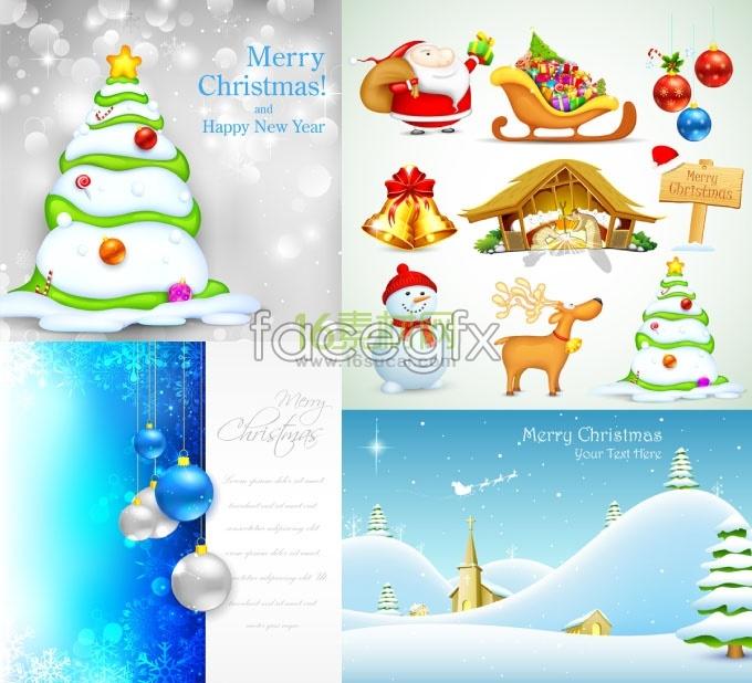 Christmas cartoon vector elements