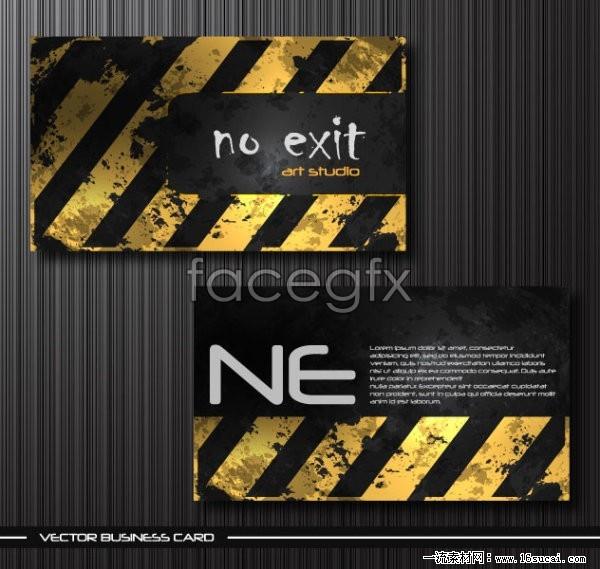Metal worn business card template vector