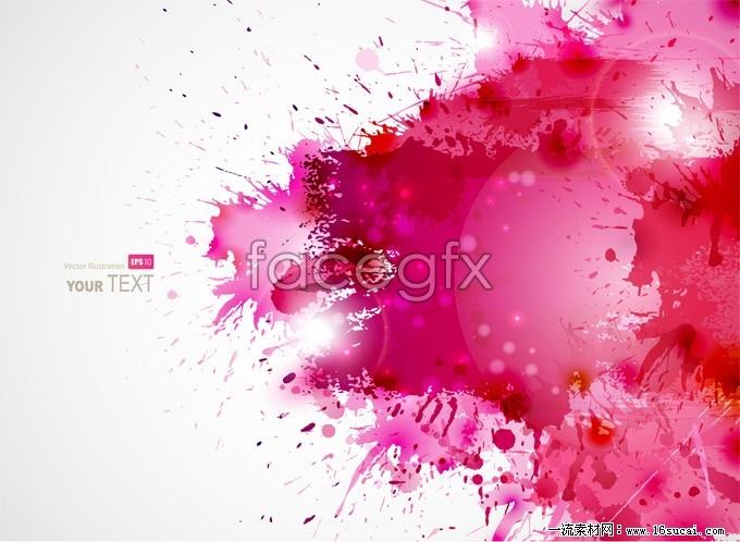 Pink ink splash background vector map