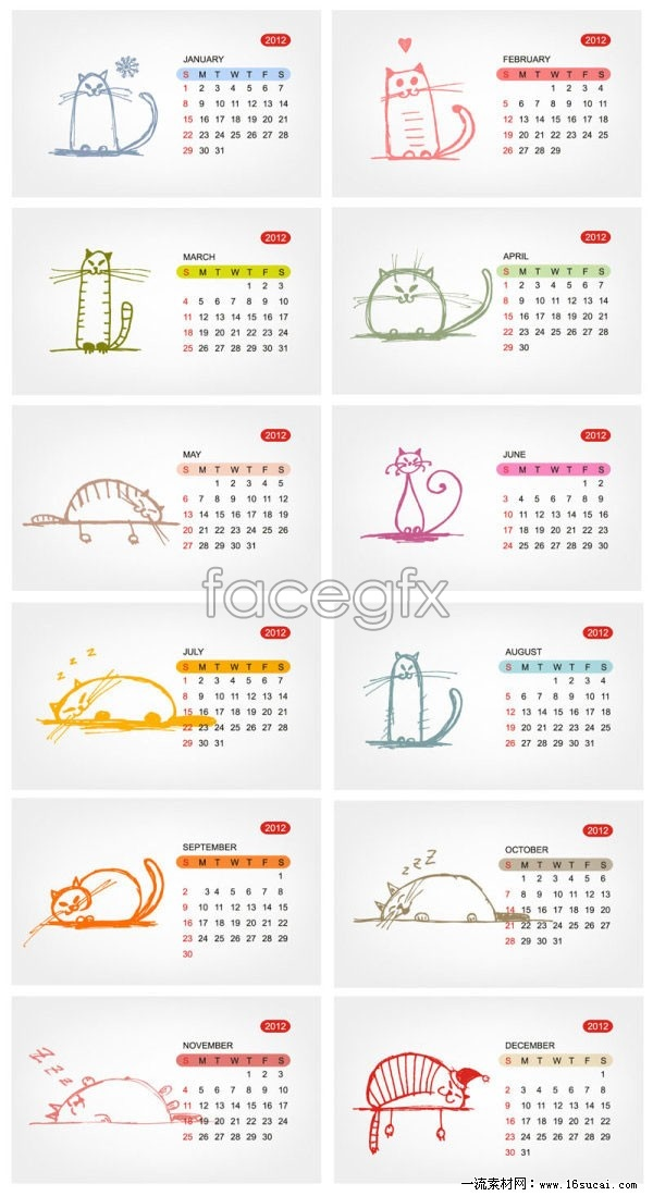 Two 2012 cutest line draft calendar template