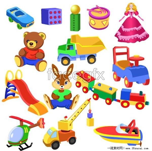 Variety of cartoon children toys vector