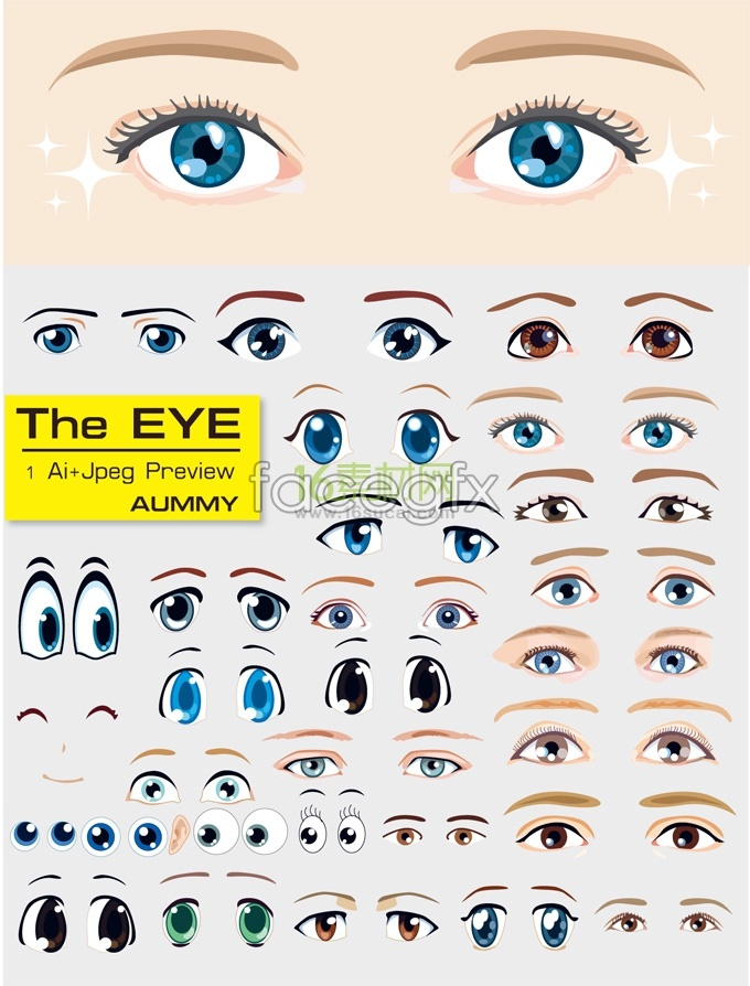 Variety Of Cartoon Eyes Template Vector For Free Download Free Vector